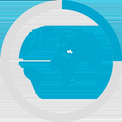 25% Chart mit Weltkugel
