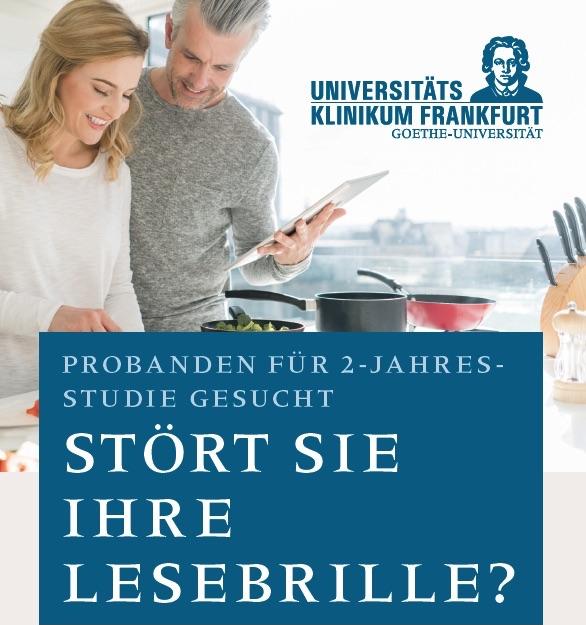 Anzeigenmotiv für die Suche nach Probanden für die Presbia-Studie in Frankfurt.